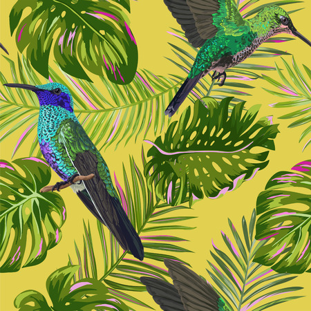 Floral Tropical Seamless Pattern with Humming Bird. Birds and Palm Leaves Background for Fabric, Wallpaper, Textile. Vector illustration 일러스트