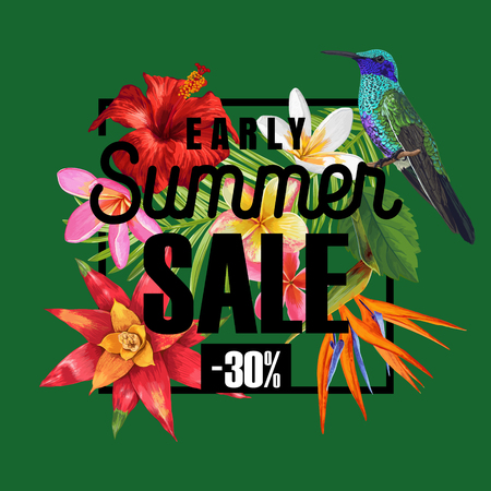 Summer Sale Banner with Tropical Hibiscus Flowers and Humming Birds. Floral Template for Promo, Discount Flyer, Voucher, Advertising. Vector illustration