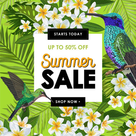 Summer Sale Banner with Tropical Plumeria Flowers, Palm Leaves and Humming Birds. Floral Template for Promo, Discount Flyer, Voucher, Advertising. Vector illustration