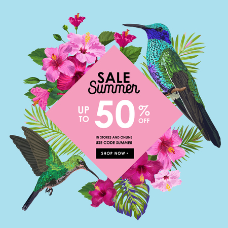 Summer Sale Banner with Tropical Flowers, Palm Leaves and Humming Birds. Floral Template for Promo, Discount Flyer, Voucher, Advertising. Vector illustration 일러스트