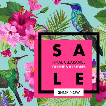 Summer Sale Banner with Tropical Flowers and Humming Birds. Floral Template for Promo, Discount Flyer, Voucher, Advertising. Vector illustration