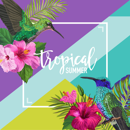 Tropical Summer Floral Poster with Hummingbird. Summertime Design with Exotic Flowers and Birds. Sale Banner with Palm Leaves. Vector illustration