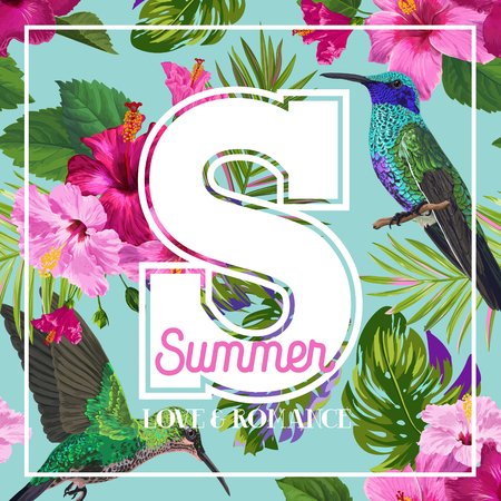 Tropical Summer Floral Poster with Hummingbird. Summertime Design with Hibiscus Flowers and Birds. Sale Banner with Palm Leaves. Vector illustration