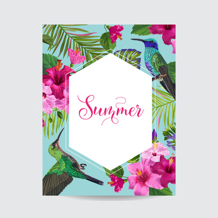 Tropical Summer Floral Poster with Hummingbird. Summertime Card with Hibiscus Flowers and Birds. Sale Banner with Palm Leaves and Golden Frame. Vector illustration