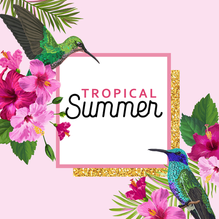 Tropical Summer Floral Poster with Hummingbird. Summertime Design with Hibiscus Flowers and Birds. Sale Banner with Palm Leaves and Golden Frame. Vector illustration 일러스트