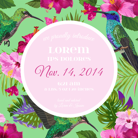 Wedding Invitation with Blooming Tropical Flowers and Hummingbirds. Save the Date Floral Card with Exotic Birds. Vector illustration 일러스트