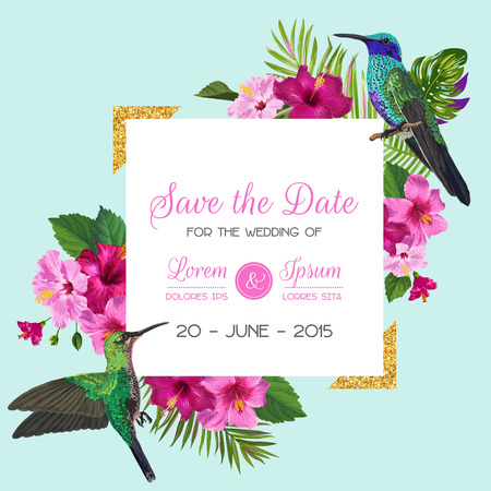 Wedding Invitation with Blooming Tropical Flowers and Hummingbirds. Save the Date Floral Card with Exotic Birds and Golden Frame. Vector illustration Illustration