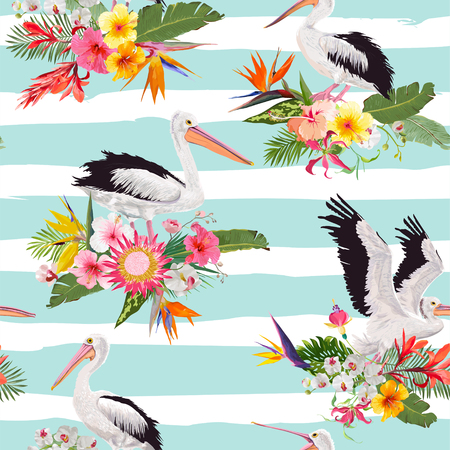 Tropical Nature Seamless Pattern with Pelicans and Flowers. Floral Background with Waterbirds for Fabric, Textile, Wallpaper. Vector illustration  イラスト・ベクター素材