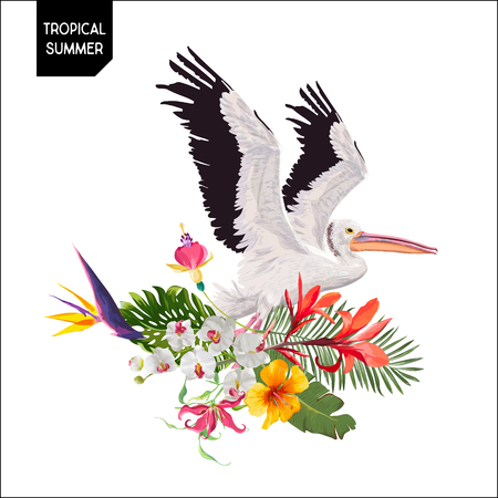 Tropical Summer Design with Flying Pelican Bird and Exotic Flowers. Waterbird with Tropic Plants and Palm Leaves for T-shirt, Print. Vector illustration