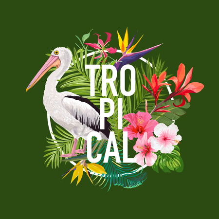 Tropical Summer Design with Pelican Bird and Exotic Flowers. Waterbird with Tropic Plants and Palm Leaves for T-shirt, Print. Vector illustration