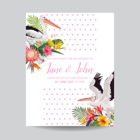 Save the Date Card with Exotic Flowers and Birds. Floral Wedding Invitation Template with Pelicans. Tropical Postcard. Vector illustration Illustration
