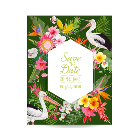 Save the Date Card with Exotic Flowers and Birds. Floral Wedding Invitation Template with Pelicans. Tropical Postcard. Vector illustration Иллюстрация