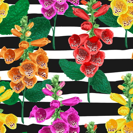 Tropical Flowers Seamless Pattern. Summer Floral Background with Tiger Lily Flower. Watercolor Blooming Design for Wallpaper, Fabric. Vector illustration 일러스트
