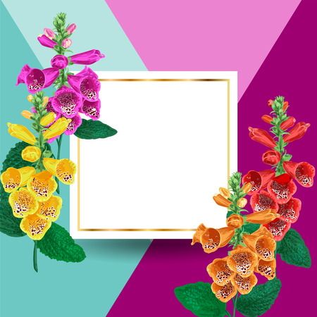 Blooming Spring and Summer Golden Floral Frame. Watercolor Tiger Lily Flowers for Invitation, Wedding, Greeting Card. Vector illustration
