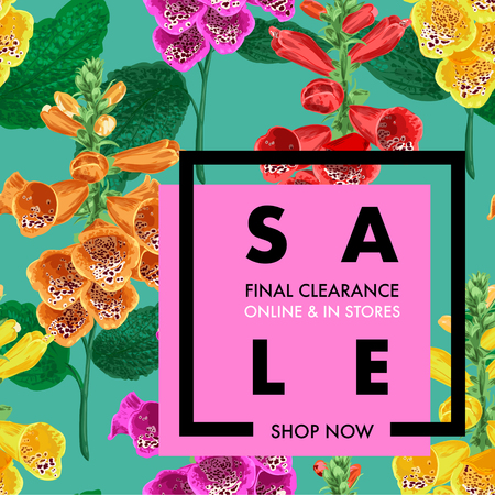 Summer Sale Tropical Banner. Seasonal Promotion with Tiger Lily Flowers and Leaves. Floral Discount Template Design for Poster, Flyer, Gift Certificate. Vector illustration