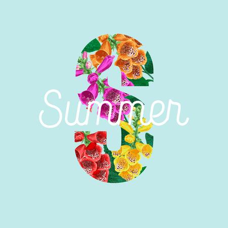 Summertime Floral Poster. Tropical Tiger Lily Flowers Design for Banner, Flyer, Brochure, Fabric Print. Hello Summer Watercolor Botanical Background. Vector illustration 일러스트