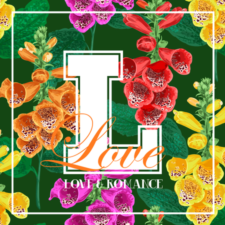 Hello Summer Floral Design with Blooming Tiger Lily Flowers. Tropical Botanical Background for Poster, Banner, T-shirt, Greeting Card. Vector illustration