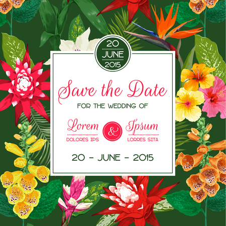 Wedding Invitation Template with Tiger Lily Flowers and Palm Leaves. Tropical Floral Save the Date Card. Exotic Flower Romantic Design for Greeting Postcard, Birthday, Anniversary. Vector illustration