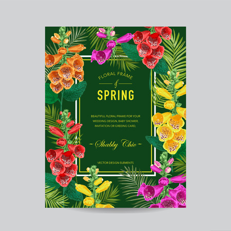 Wedding Invitation Template with Tiger Lily Flowers. Tropical Floral Save the Date Card. Exotic Flower Romantic Design for Greeting Postcard, Birthday, Anniversary. Vector illustration
