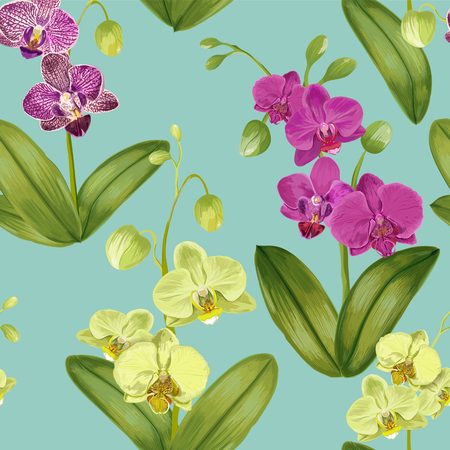 Seamless Tropical Pattern with Orchid Flowers. Floral Background for Fabric Textile, Wallpaper, Wrapping. Watercolor Flowers Design. Vector illustration
