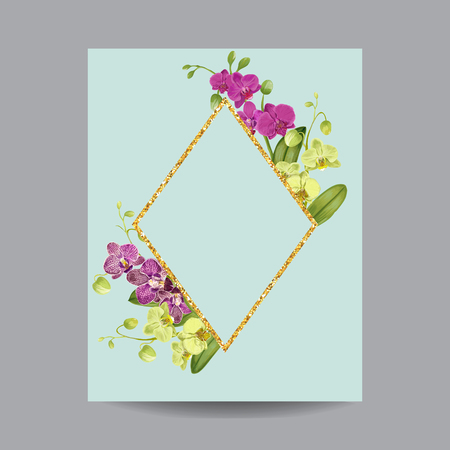 Blooming Spring and Summer Golden Floral Frame. Watercolor Purple Orchid Flowers for Invitation, Wedding, Greeting Card. Vector illustration