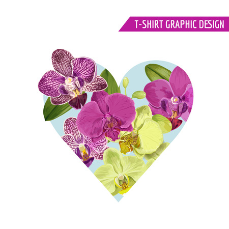 Love Romantic Floral Heart Spring Summer Design with Purple Orchid Flowers for Prints, Fabric, T-shirt, Posters. Tropical Botanical Background for Valentines Day. Vector illustration 일러스트