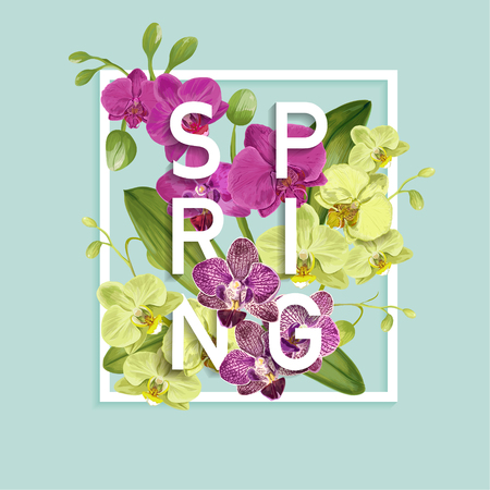 Hello Spring Tropic Design. Tropical Orchid Flowers Background for Poster, Sale Banner, Placard, Flyer. Floral Vintage Composition. Vector illustration