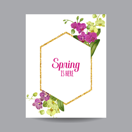 Hello Spring Tropic Design. Tropical Orchid Flowers Background with Golden Frame for Poster, Sale Banner, Placard, Flyer. Floral Vintage Composition. Vector illustration