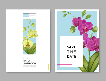 Wedding Invitation Layout Template with Orchid Flowers. Save the Date Floral Card with Exotic Flowers for Party Celebration. Vector illustration 일러스트