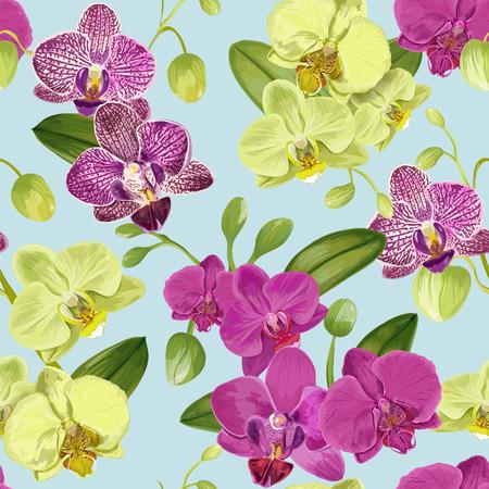 Patrones tropicales sin fisuras con flores de orquídeas. Fondo floral para tela, papel tapiz, envoltura. Diseño de flores de acuarela. Ilustración vectorial