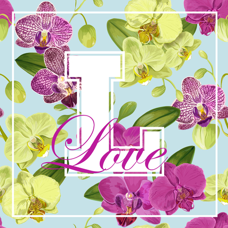 Love Romantic Floral Spring Summer Design with Purple Orchid Flowers for Prints, Fabric, T-shirt, Posters. Tropical Botanical Background for Valentines Day. Vector illustration 일러스트