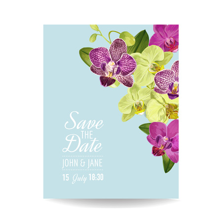 Wedding Invitation Layout Template with Orchid Flowers. Save the Date Floral Card with Exotic Flowers for Party Celebration. Vector illustration Ilustrace