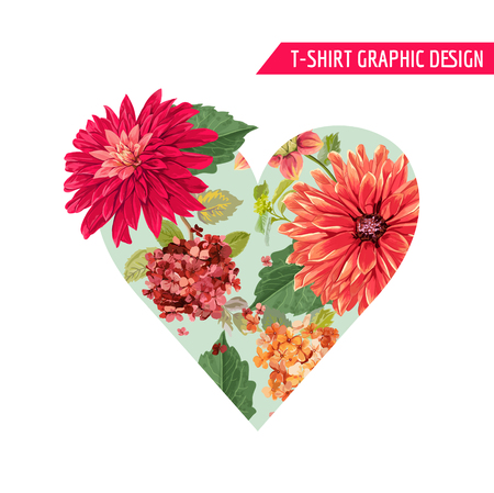 Love Romantic Floral Heart Spring Summer Design with Red Asters Flowers for Prints, Fabric, T-shirt, Posters. Tropical Botanical Background for Valentines Day. Vector illustration