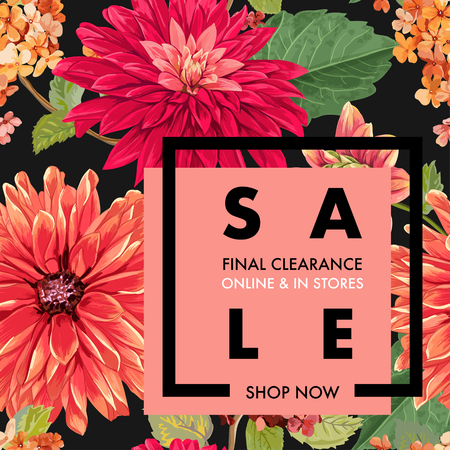 Summer Sale Tropical Banner. Seasonal Promotion with Red Asters Flowers and Leaves. Floral Discount Template Design for Poster, Flyer, Gift Certificate. Vector illustration