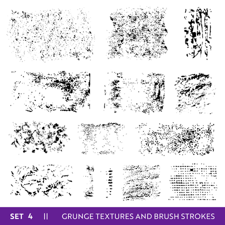 Ink Brush Strokes Grunge Collection. Dirty Design Elements Set. Paint Splatters, Freehand Grungy Lines. Vector illustration Illustration