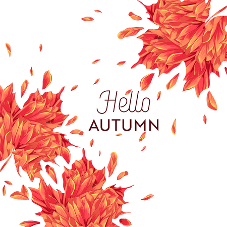 Hello Autumn Watercolor Floral Design with Maple Leaf. Seasonal Fall Banner, Poster, Print, Sale, Promo Template. Autumn Abstract Background. Vector illustration 일러스트