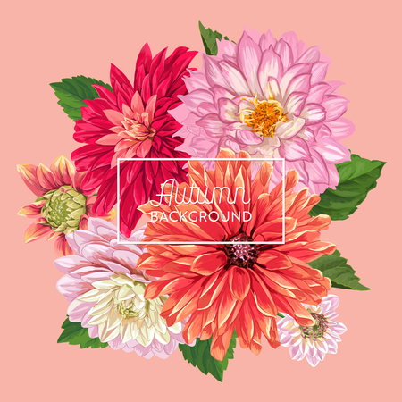Hello Autumn Floral Design. Seasonal Fall Floral Background for Web Banner, Poster, Leaflet, Sale, Promo, Print. Watercolor Asters Flowers. Vector illustration