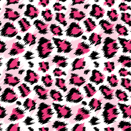 Fashionable Pink Leopard Seamless Pattern. Stylized Spotted Leopard Skin Background for Fashion, Print, Wallpaper, Fabric. Vector illustration