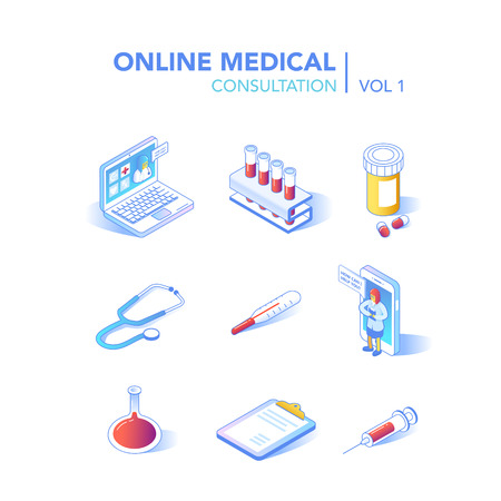 Online Healthcare Isometric Concept. Medical Consultation, Diagnostics Application on Computer, Tablet, Smartphone. Modern Technology with Doctor and Medical Equipment. Vector illustration 일러스트