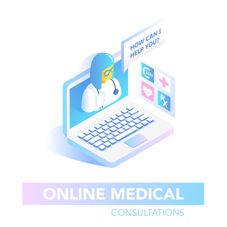 Online Healthcare Isometric Concept. Medical Consultation, Diagnostics Application on Computer. Modern Medical Technology with Doctor. Vector illustration
