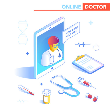 Online Healthcare Isometric Concept. Medical Consultation, Diagnostics Application on Computer, Tablet, Smartphone. Modern Medical Technology with Doctor. Vector illustration 일러스트
