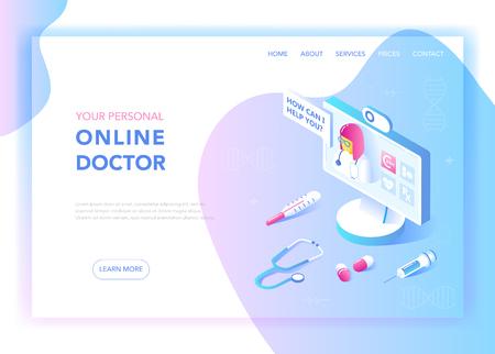 Concepto de diseño plano isométrico de medicina y salud en línea. Servicios médicos, plantilla de página de destino de farmacia. Diseño de la página web de la consulta de salud. Ilustración vectorial