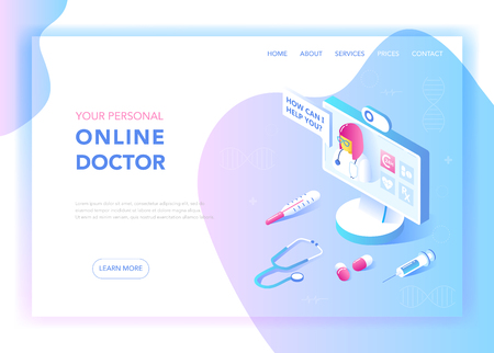 Online Medicine and Healthcare Flat Isometric Design Concept. Medical Services, Pharmacy Landing Page Template. Health Consultation Webpage Layout. Vector illustration Stock Vector - 112299433