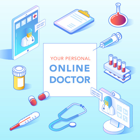 Online Healthcare Isometric Concept. Medical Consultation, Diagnostics Application on Smartphone, Computer. Modern Technology with Doctor and Medical Equipment. Vector illustration