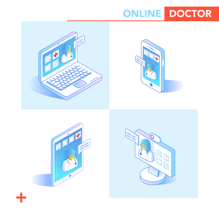 Online Healthcare Isometric Concept. Medical Consultation, Diagnostics Application on Smartphone, Computer. Modern Medical Technology with Doctor and Patient. Vector illustration