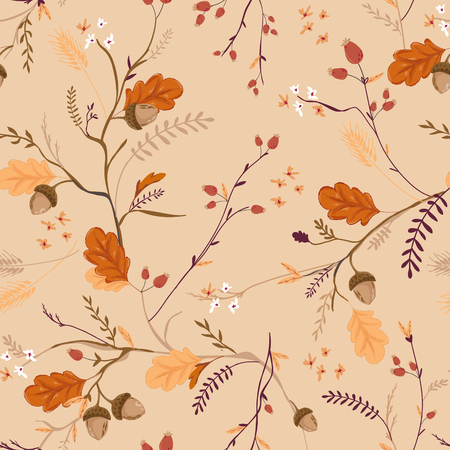 Autumn Floral Seamless Pattern with Acorns, Leaves and Flowers. Fall Vintage Nature Background for Textile, Wallpaper, Print, Decoration, Wrapping Paper. Vector illustration