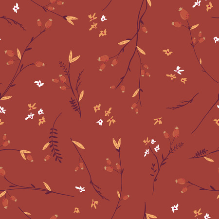 Autumn Floral Seamless Pattern with Leaves and Flowers. Fall Vintage Nature Background for Textile, Wallpaper, Print, Decoration, Wrapping Paper. Vector illustration