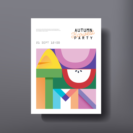 Autumn template design for Brochure, Poster, Cover, Flyer, Layout. Concept fall illustration for party, event, celebration in vector 일러스트