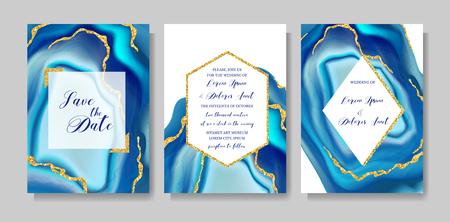 Modèle de géode ou de marbre de mode de mariage, conception de couvertures artistiques, texture colorée, arrière-plans réalistes. Motif tendance, brochure géométrique, enregistrer les cartes de date, affiche graphique. Illustration vectorielle.