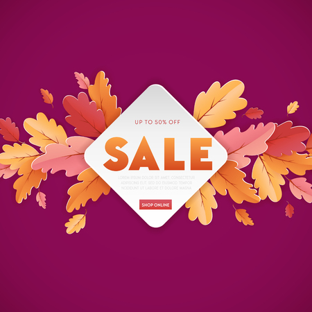 Autumn Sale Background Template with beautiful leaves Illustration for shopping sale, coupon, promotion poster and web banner in Vector 일러스트
